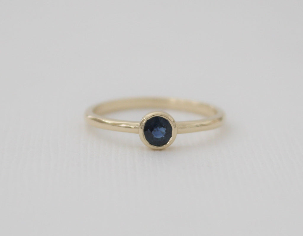 Handmade Sapphire Solitaire Ring in 14 Karat Solid White Gold - September Birthstone
