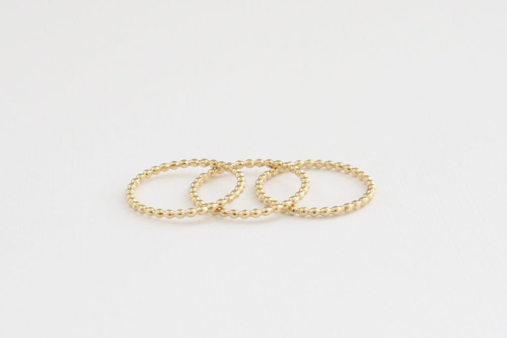 Set of 3 Stacking Bead Rings in 14K Yellow Gold