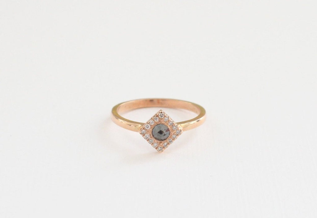 Diamond Shaped Rose Cut Black Diamond Ring 14K Rose Gold