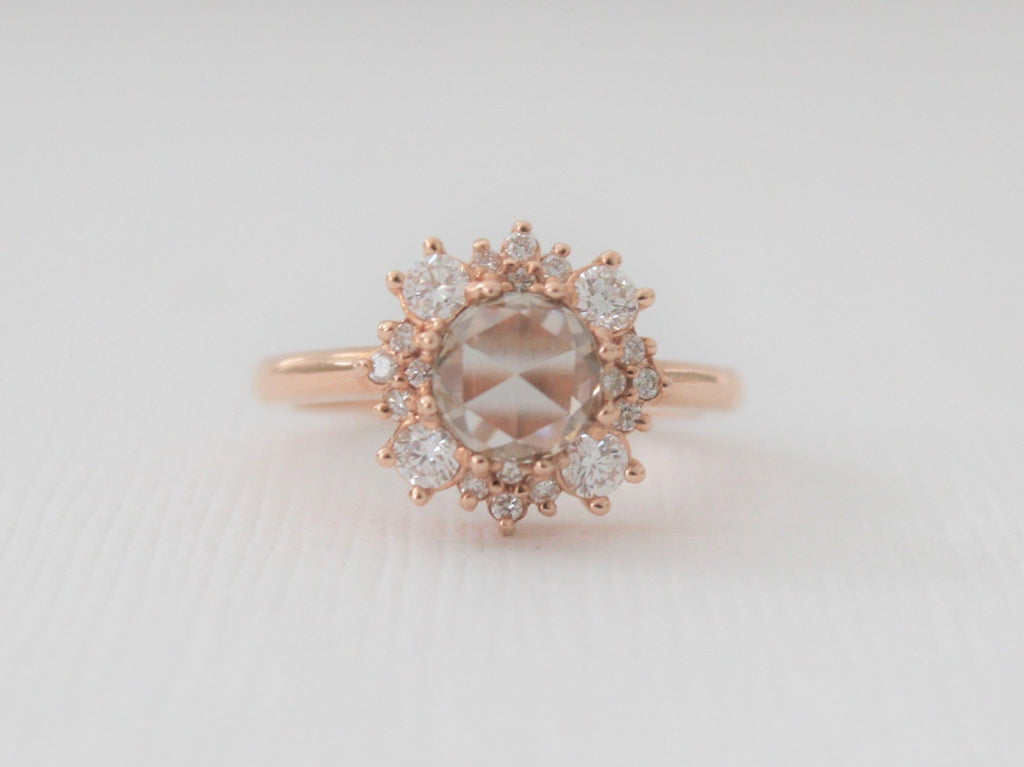 a16315ab4ca08 Rose Cut Champagne Diamond Halo Engagement Ring in 14K Rose Gold