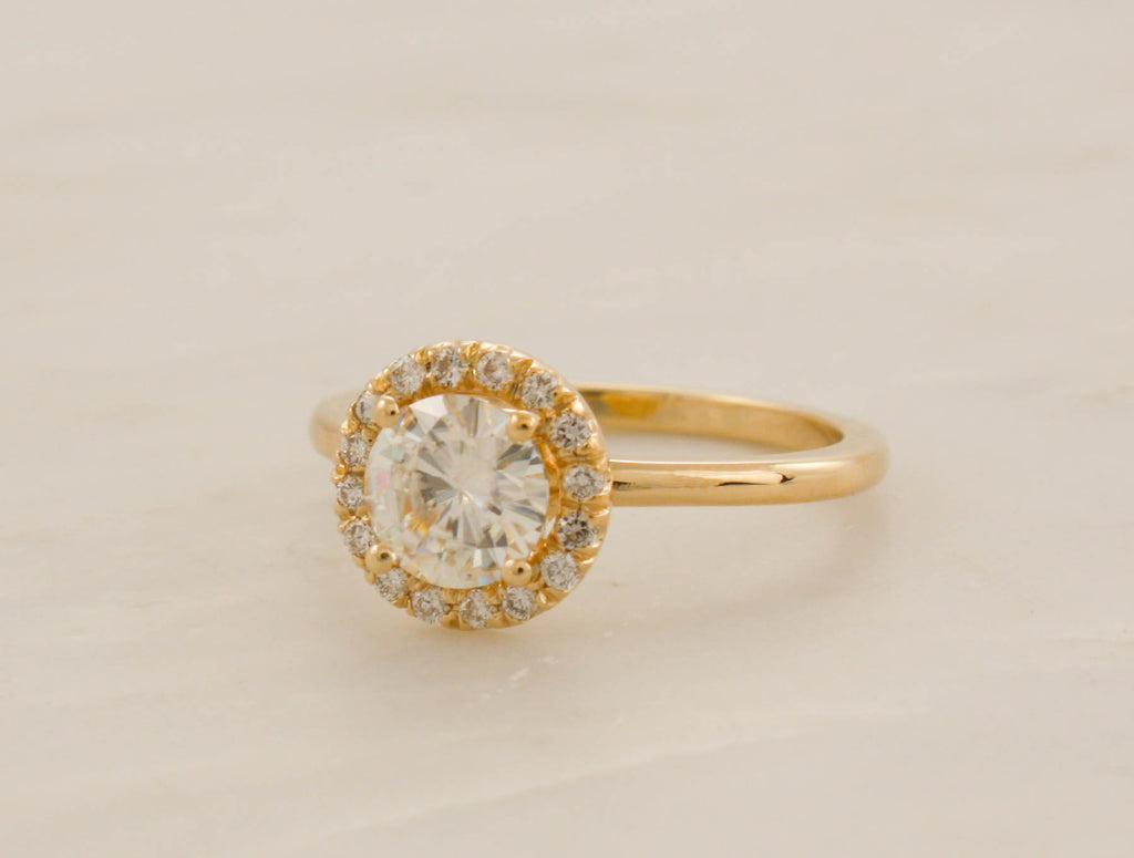 Moissanite Diamond Halo Engagement Ring in 14K Yellow Gold