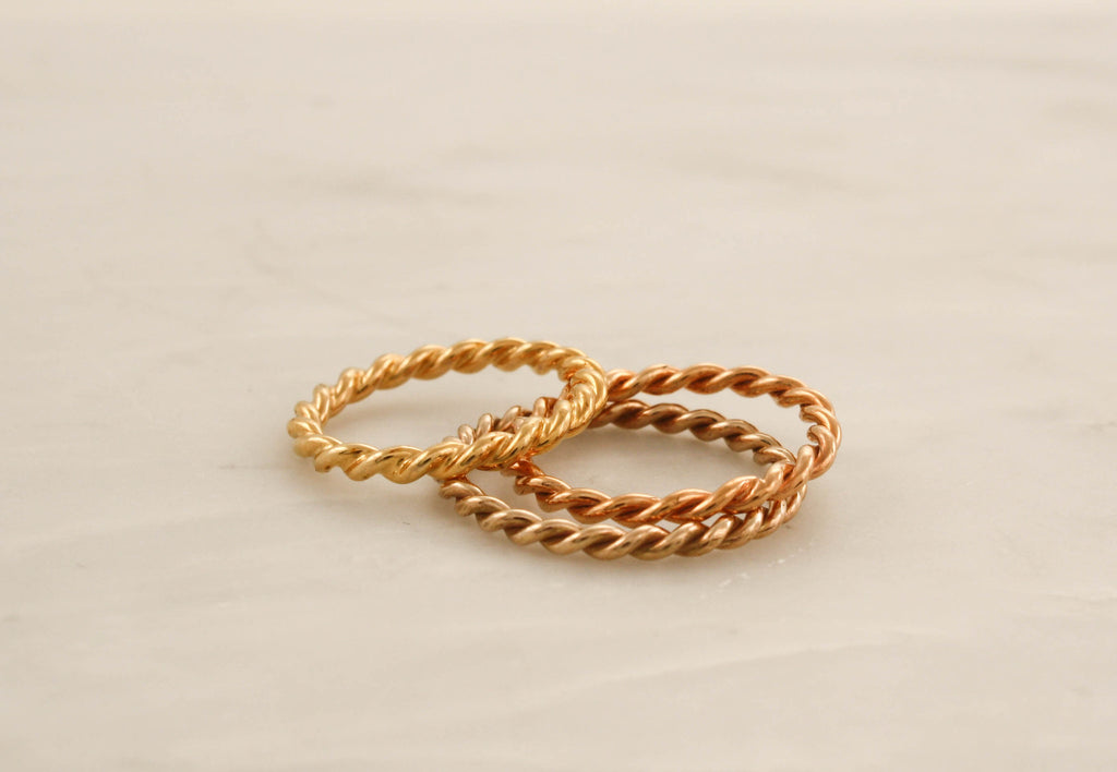 Set of 3 Twist Infinity Stacking Rings in 14K Rose, White and Yellow Gold