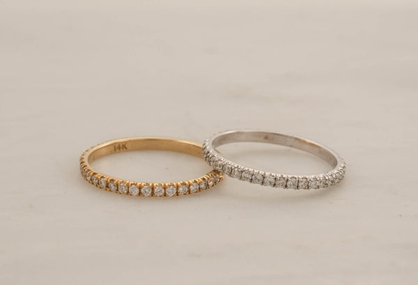1.6 mm Handmade Skinny Eternity Diamond Stacking Ring in 14K Gold