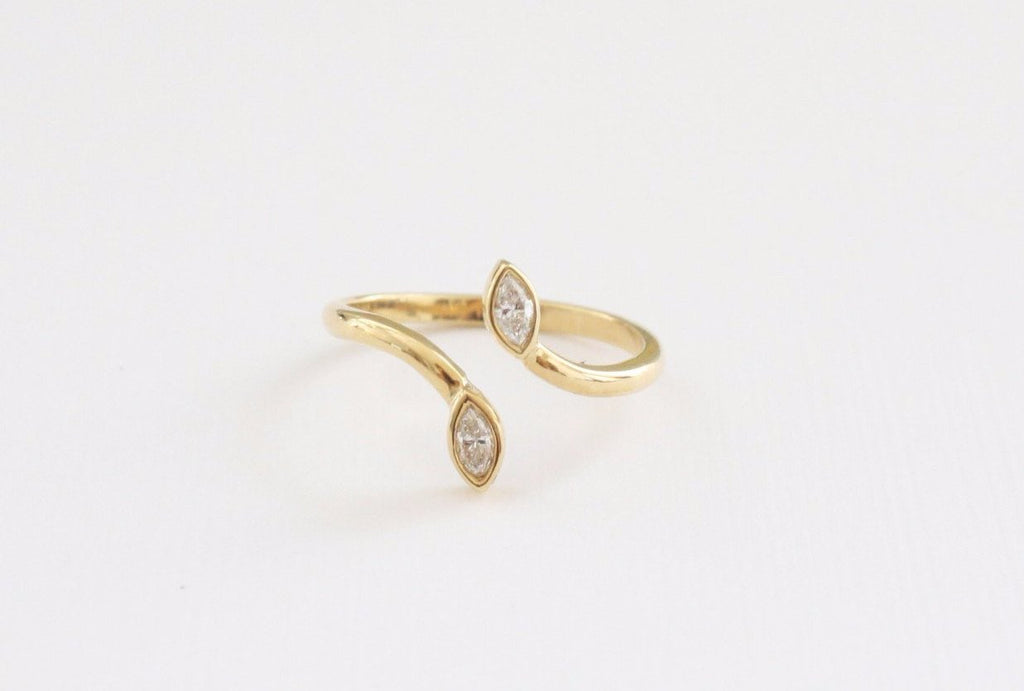 Marquise Diamond Snake Inspired Cuff Bezel Ring in 18K Yellow Gold