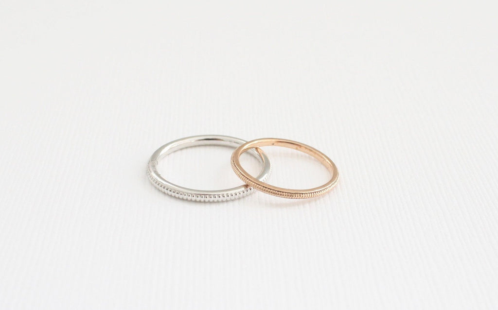 Stackable Solid Gold Milgrain Ring in 14K