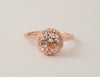 Morganite Diamond Halo Ring in 14K Rose Gold