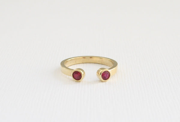 Ruby Cuff Ring in 14K Yellow Gold
