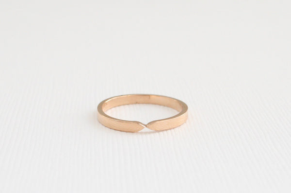 Handmade Solid Gold Tapered Stacking Band in 14K Rose Gold