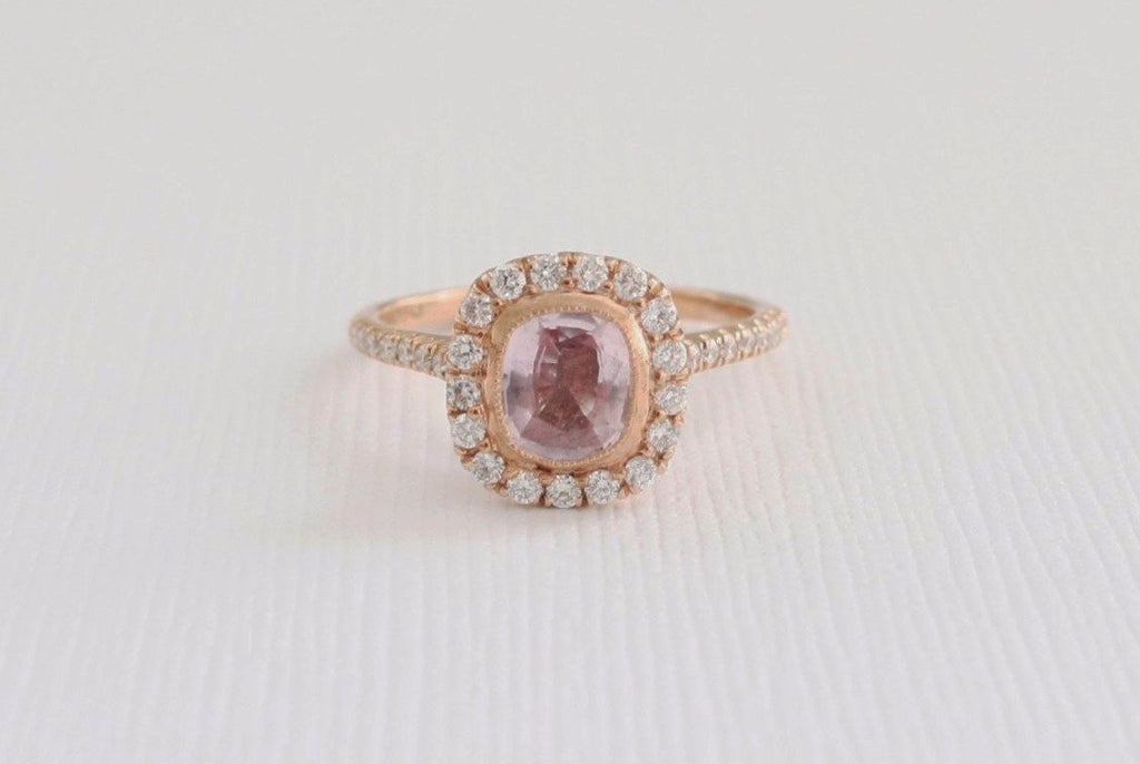 engagement pin rings light pink sapphire