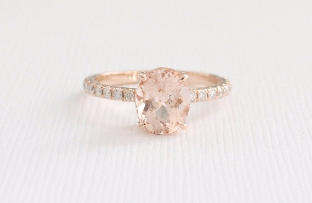 Oval Morganite Diamond Solitaire Engagement Ring in 14K Rose Gold
