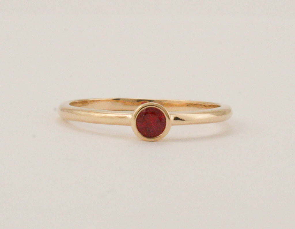 Handmade Ruby Solitaire Ring in 14 Karat Solid Yellow Gold - July Birthstone