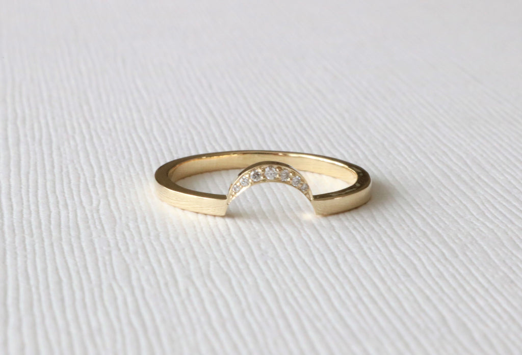 Crescent Style Curved Stacking Band in 14K Yellow Gold