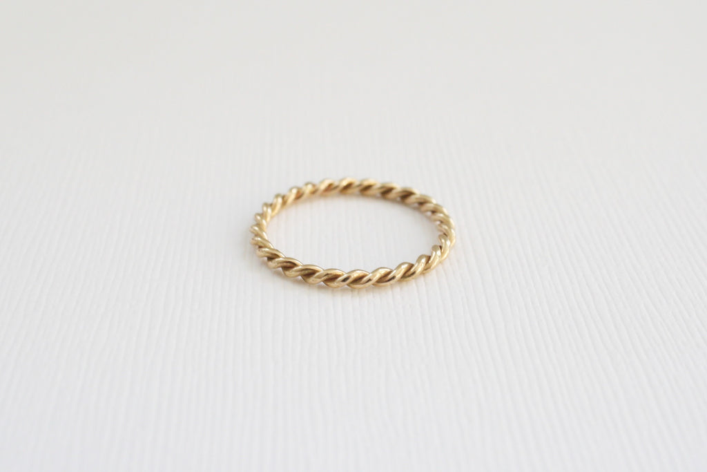 2 mm Twist Infinity Stacking Ring in 14K Yellow Gold