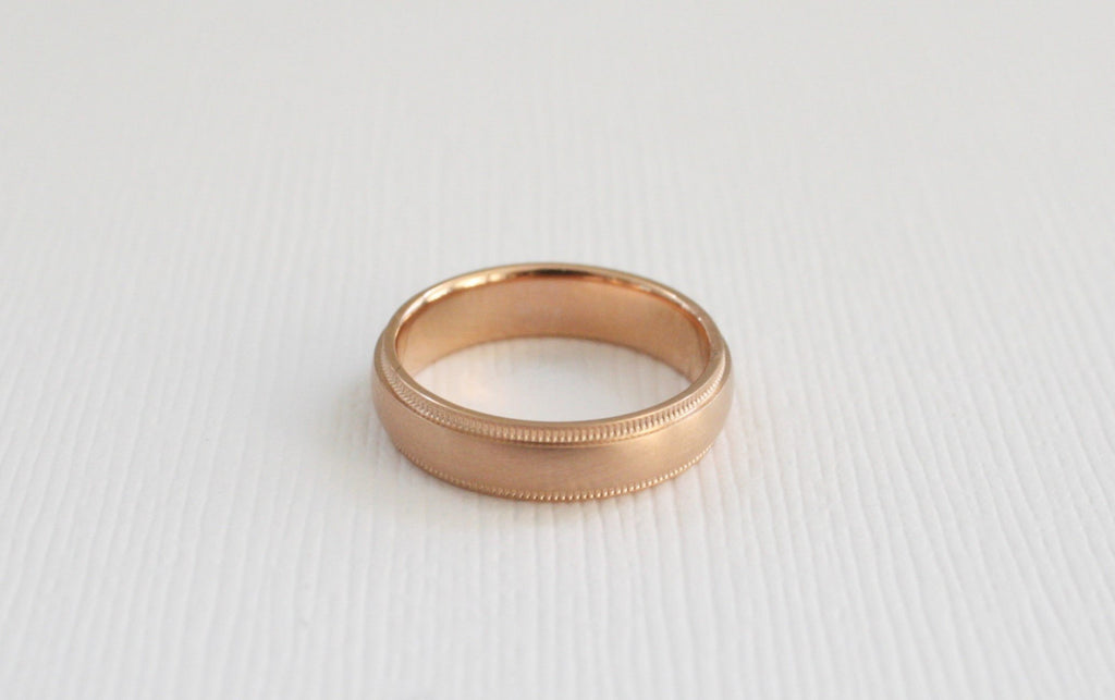 Solid Gold Milgrain Band in 14K