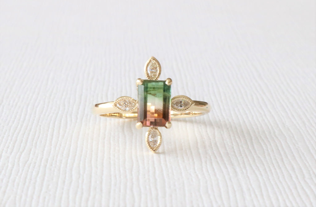 Watermelon Tourmaline and Marquise Diamond Bezel Ring in 14K Yellow Gold