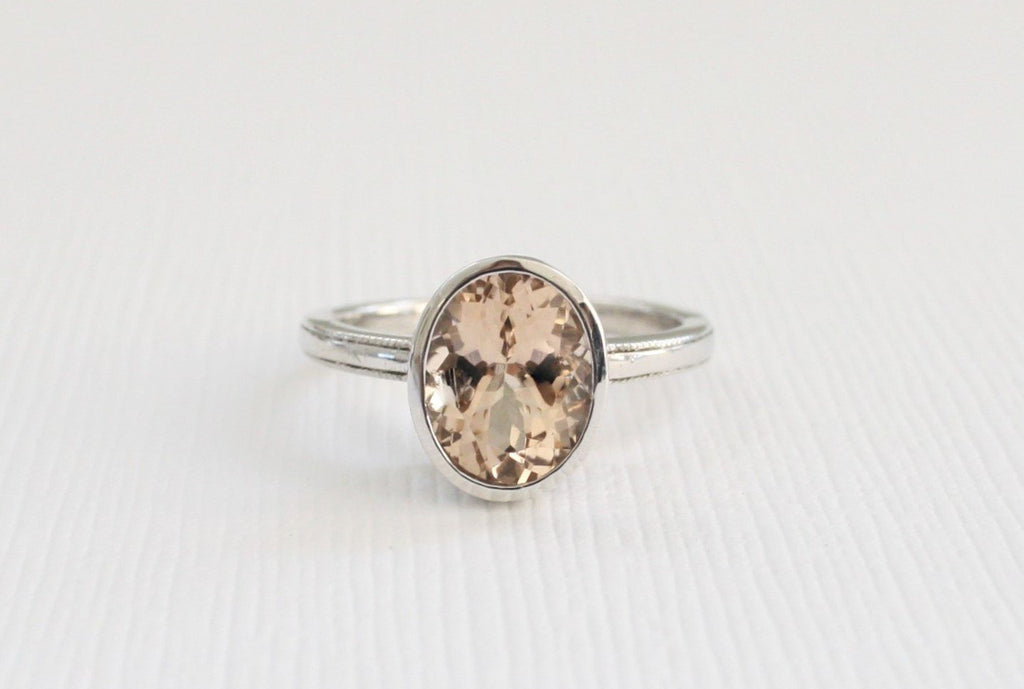 Handmade Palladium Oval Morganite Bezel Ring in 14K White Gold