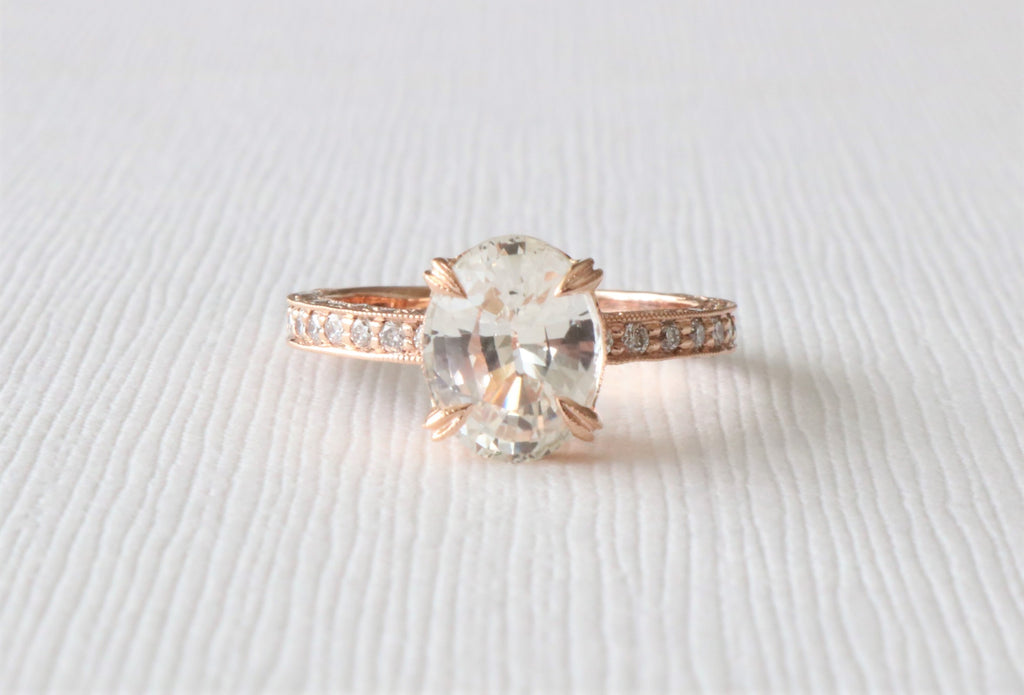 GIA Certified 2.71 Cts. Oval White Sapphire 3-Row Diamond Ring in 14K Rose Gold