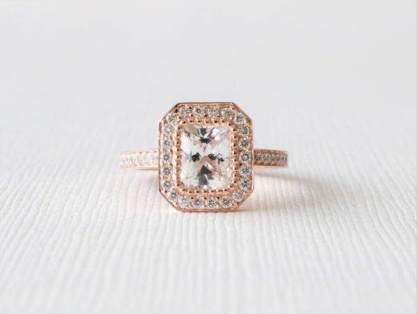 Radiant Cut White Sapphire Milgrained Diamond Halo Ring in 14K Rose Gold