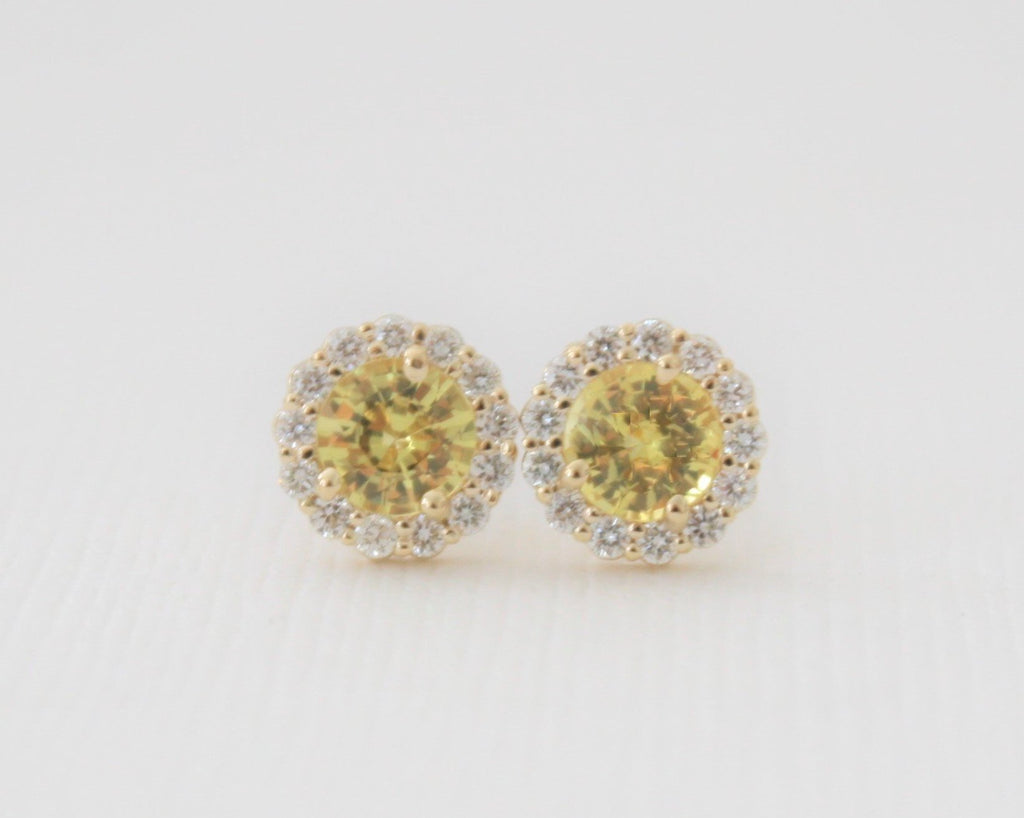 Round Yellow Sapphire Diamond Halo Earrings in 14K Yellow Gold