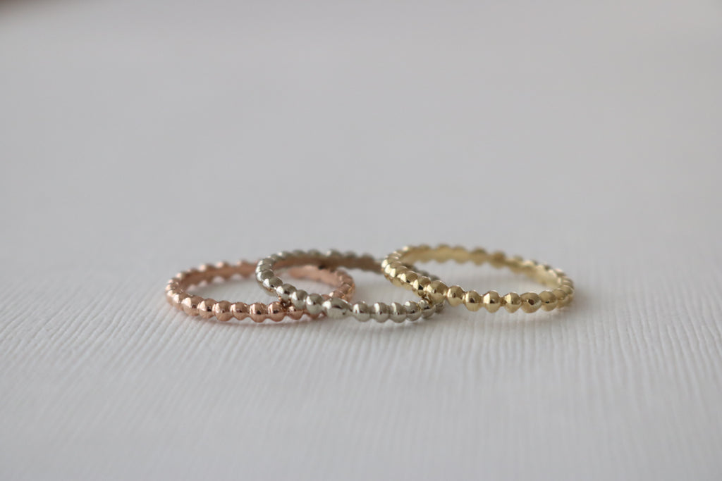 Tricolor Stackable Solid Gold Bead Ring SET in 14K Gold