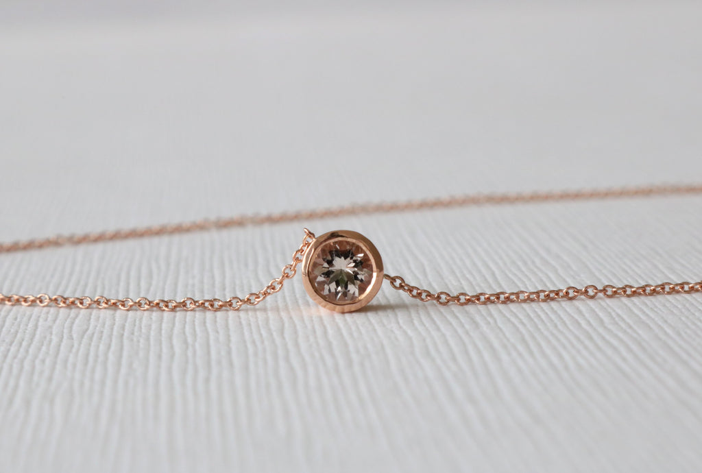 Round Morganite Bezel Solitaire Necklace in 14K Rose Gold