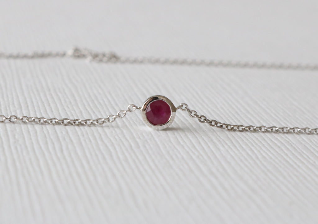 Petite Ruby Bezel Solitaire Necklace in 14K White Gold