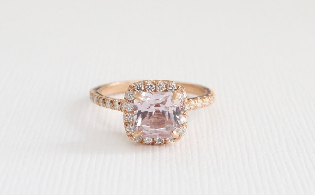 Radiant Cut Unheated Blush Pink Sapphire Diamond Halo Ring in 14K Rose Gold