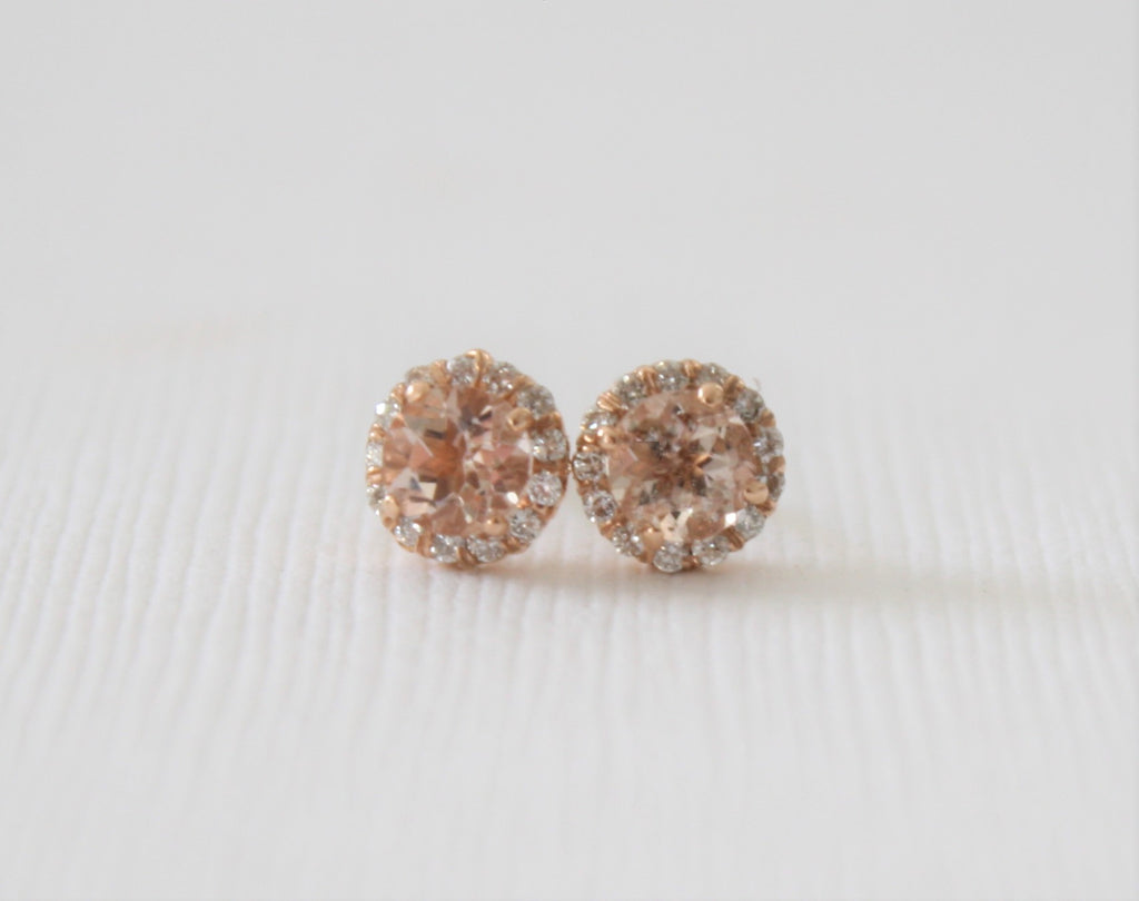 Round Morganite Diamond Halo Stud Earrings in 14K Rose Gold