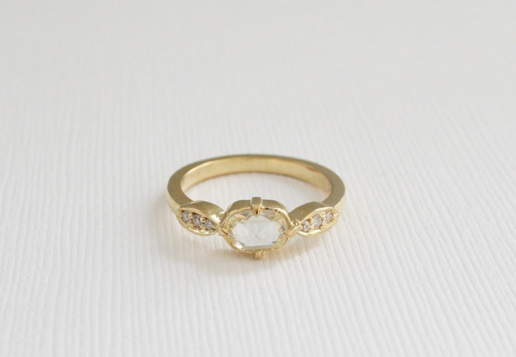 Oval Rose Cut Pave' Diamond Ring in 18K Yellow Gold