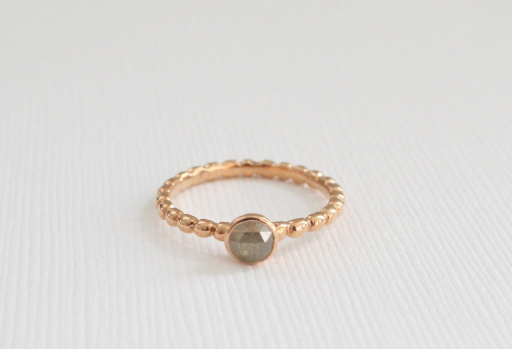 Silver Gray Rose Cut Diamond Beaded Ring in 14K Rose Gold - Stackable