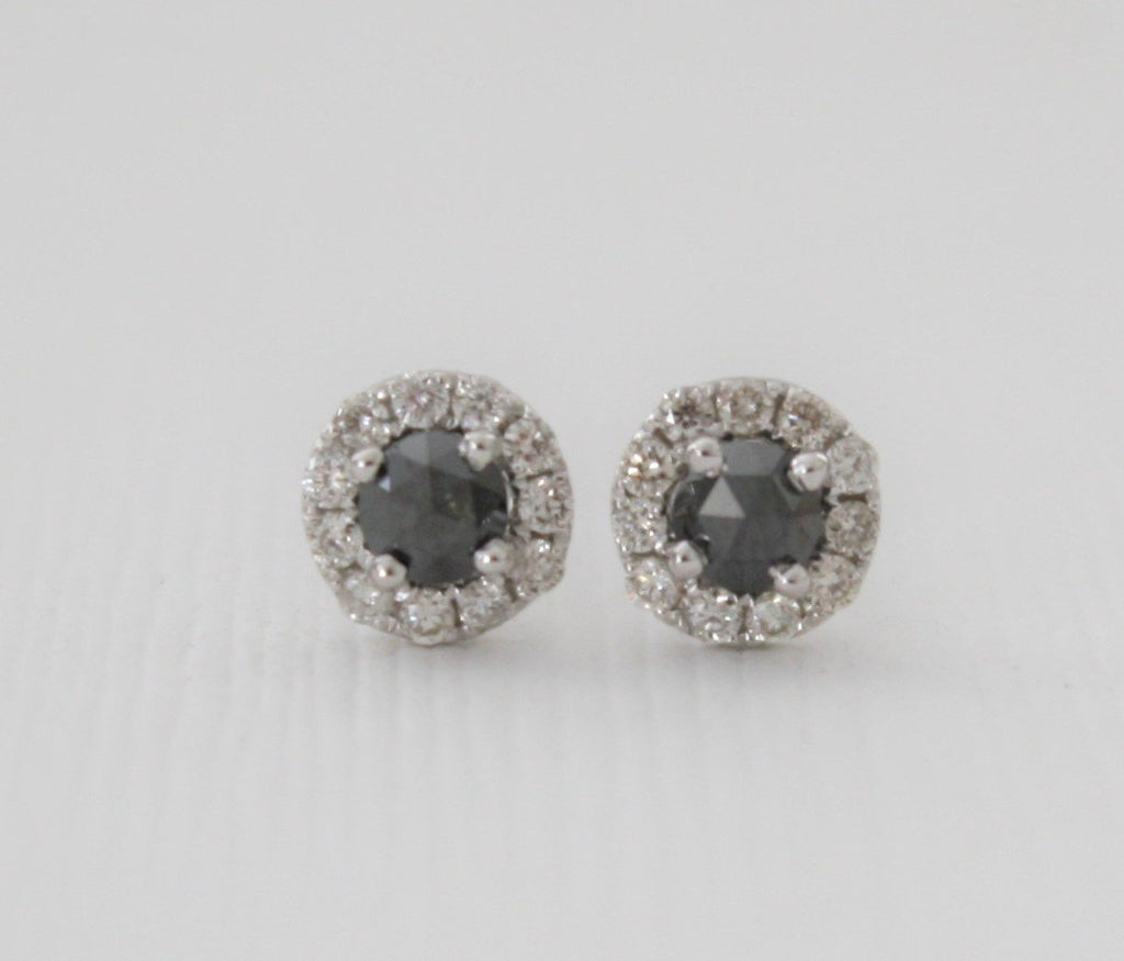 Rose Cut Black Diamond Stud Halo Earrings in 14K White Gold
