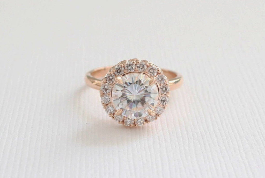 Forever One Moissanite and Diamond Cocktail/Anniversary Ring in 14K Rose Gold