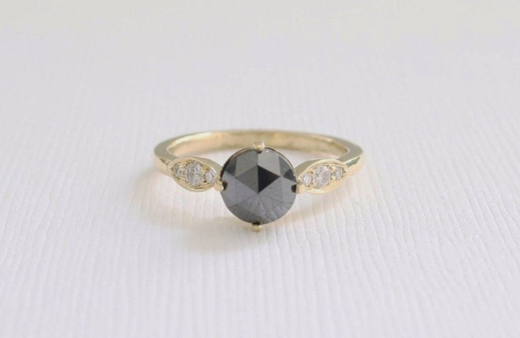 Rose Cut Black Diamond Solitaire Engagement Ring in 18K Yellow Gold