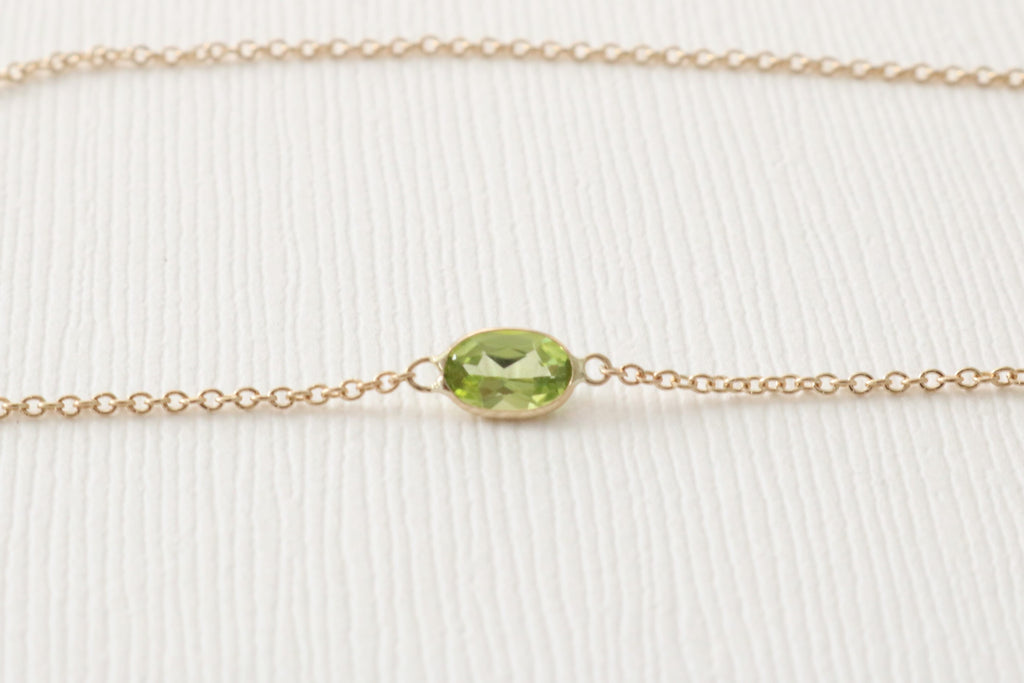 Peridot Bezel Set Solitaire Necklace in 14K Gold