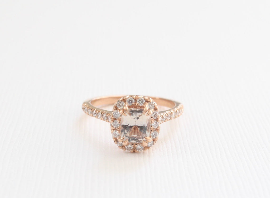 Cushion Light Peach Sapphire Double Prong Diamond Halo Ring in 14K Rose Gold