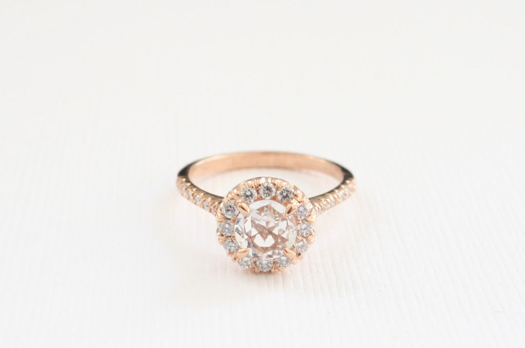 Rose Cut White Sapphire and Diamond Halo Engagement Ring in 14K Rose Gold
