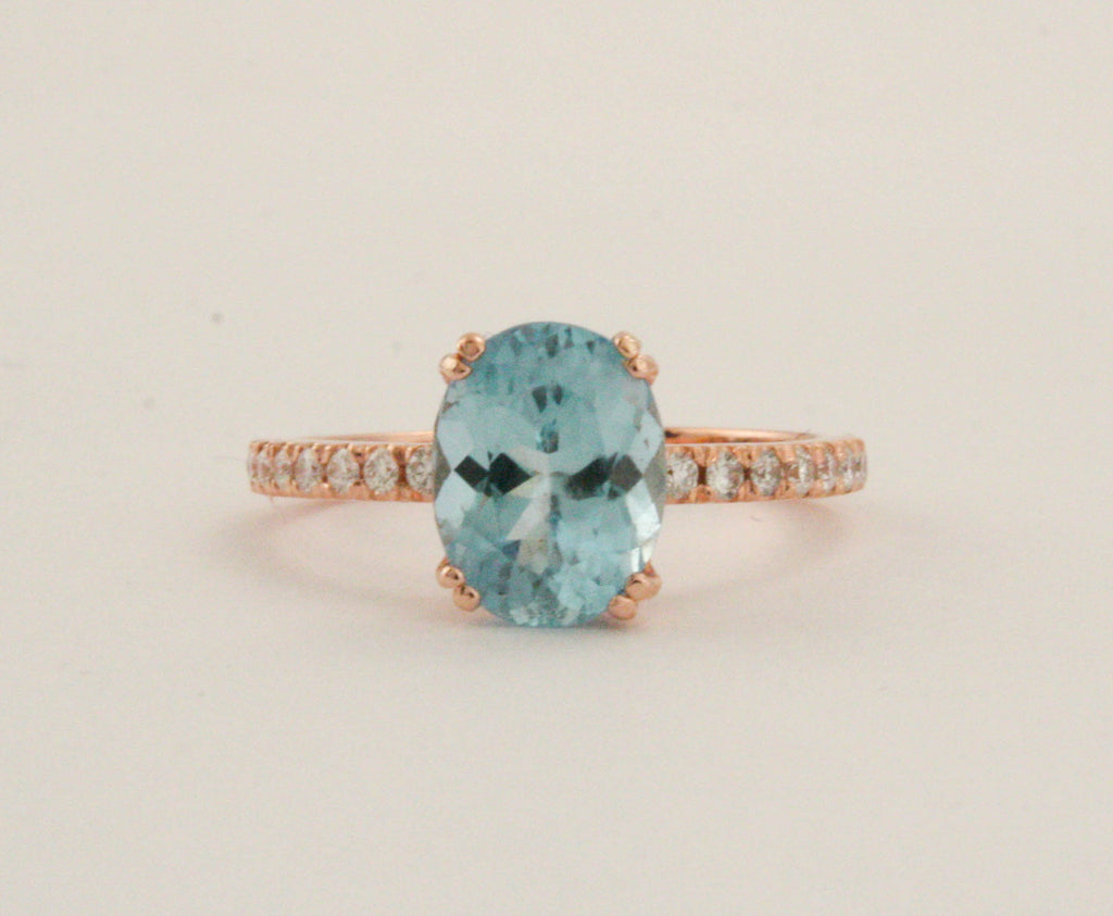 Oval Aquamarine Diamond Ring in 14K Rose Gold