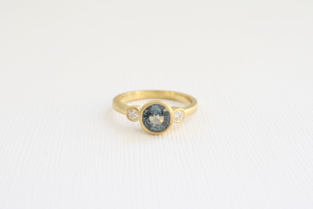3 Stone Matte Finish Teal Sapphire Diamond Bezel Ring in 18K Yellow Gold