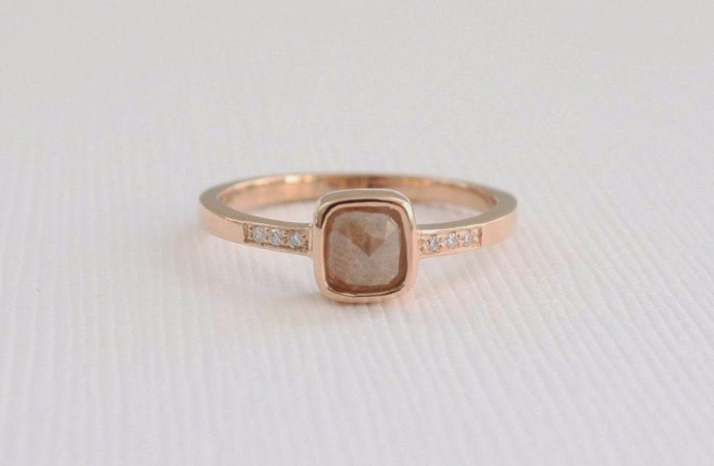 Cushion Rose Cut Cognac Diamond Bezel Ring in 14K Rose Gold