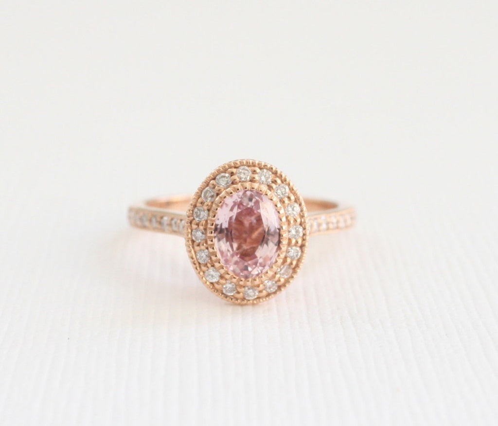 Oval Peach Sapphire Diamond Halo Ring in 14K Rose Gold