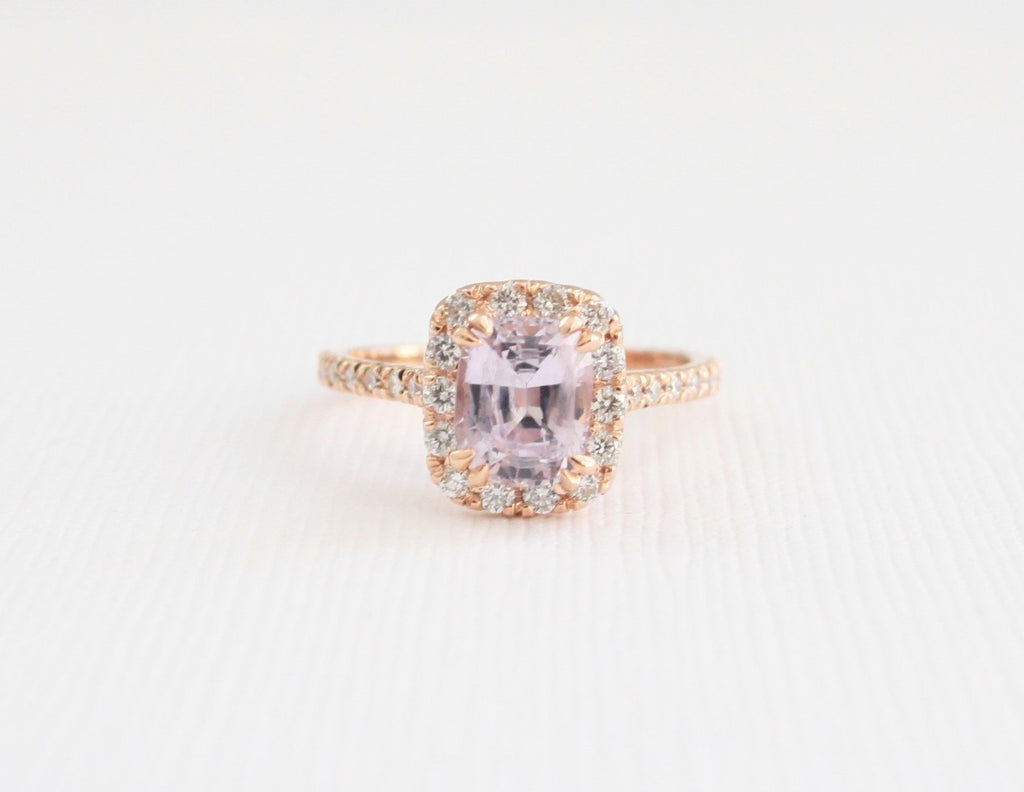 Cushion Cut Ballerina Pink Sapphire Diamond Halo Ring In 14k Rose Gold