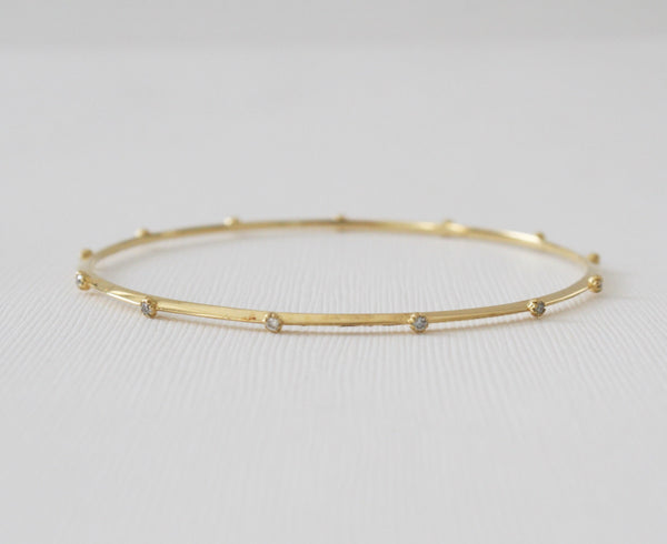 Solid Gold Champagne Diamond Bangle Bracelet in 18K