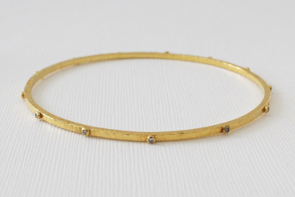 Solid Gold Champagne Diamond Hammered Bangle Bracelet in 18K