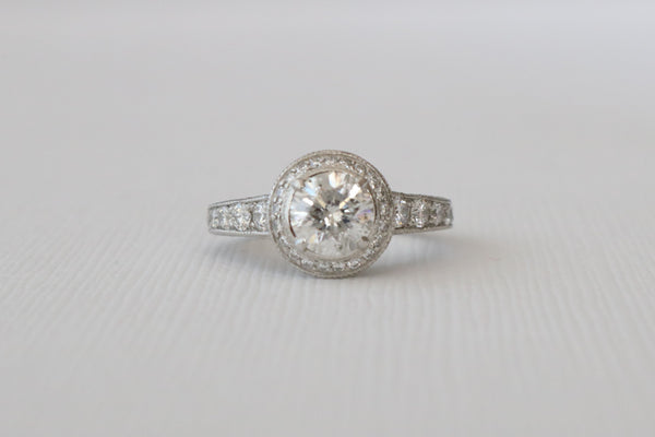 Certified 2.15 Ctw Platinum Diamond Engagement Milgrain and Engraved Ring Set