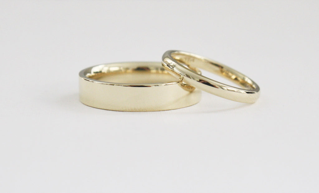 Matching Solid Yellow Gold Wedding Ring Set in 14K