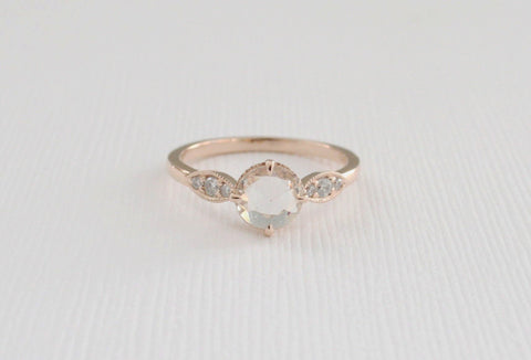 Rose Cut White Sapphire and Diamond Solitaire Engagement Ring in 14K Rose Gold