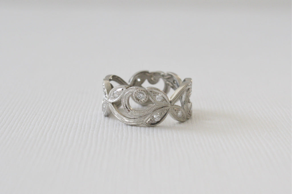 Platinum Leaf and Vine Ring