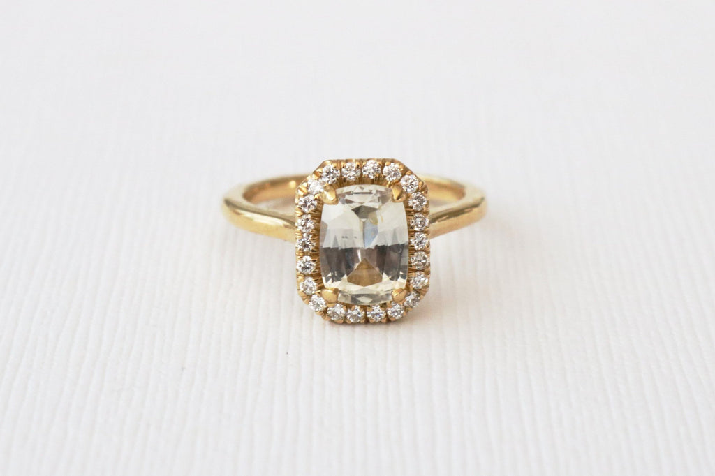 GIA Certified Rectangular Cushion Light Yellow Sapphire Diamond Halo Ring in 18K Yellow Gold