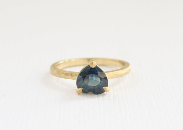 Heart Shaped Sapphire Solitaire Ring in Matte Hammered Finish 18K Yellow Gold