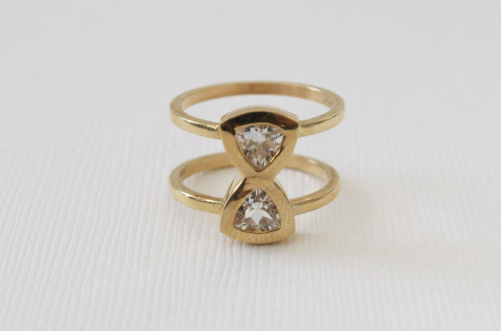 Trillion Cut White Topaz Hourglass Bezel Double Band Ring in 14K Yellow Gold